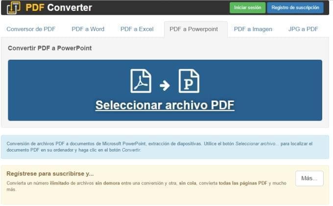 conversor pdf a ppt gratuito convierte pdf a powerpoint en línea